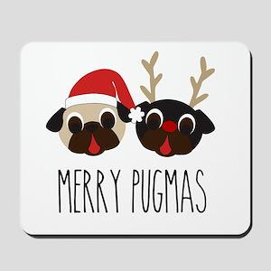Merry Pugmas Christmas Pug Santa & Reind Mousepad
