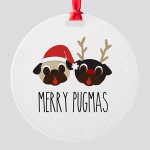 Merry Pugmas Christmas Pug Santa & Round Ornament