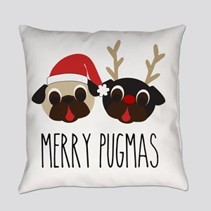 Merry Pugmas Christmas Pug Santa & Everyday Pillow
