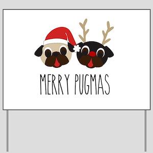 Merry Pugmas Christmas Pug Santa & Reind Yard Sign