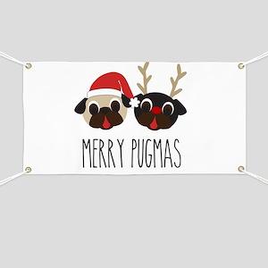 Merry Pugmas Christmas Pug Santa & Reindeer Banner