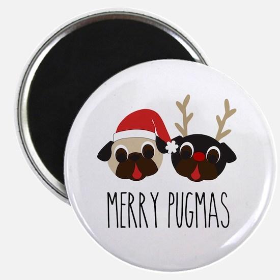 Merry Pugmas Christmas Pug Santa & Reindee Magnets