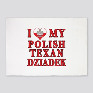 I Love My Polish Texan Dziadek 5'x7'Area Rug