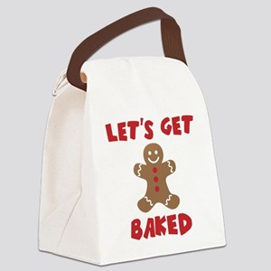 Let's Get Baked Funny Christmas Canvas Lunch Bag