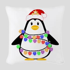 Christmas Penguin Woven Throw Pillow