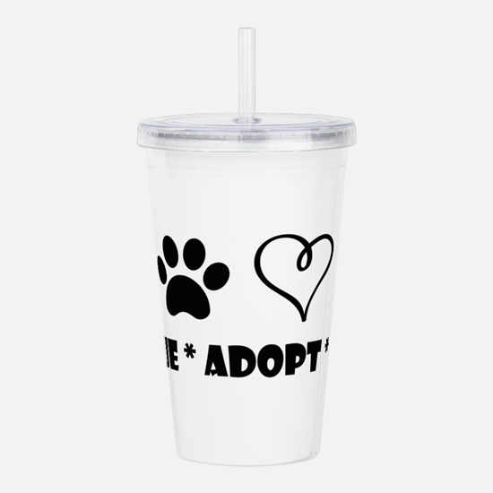 Cute Adopt a rescue dog today Acrylic Double-wall Tumbler