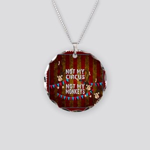 Not My Circus Monkeys Stamp Necklace Circle Charm