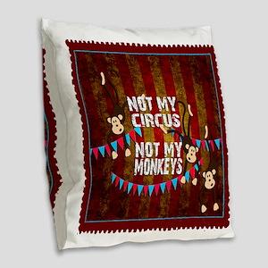 Not My Circus Monkeys Stamp Burlap Throw Pillow