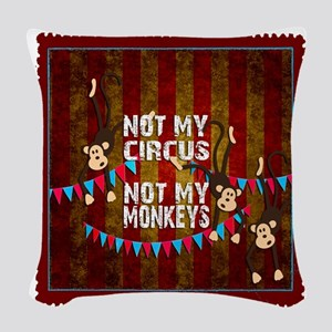 Not My Circus Monkeys Stamp Woven Throw Pillow