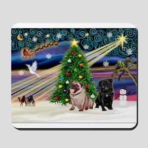 X Mas Magic & Pug Pair Mousepad