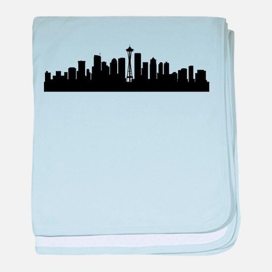 Seattle Cityscape Skyline baby blanket