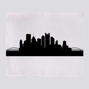 Pittsburgh Cityscape Skyline Throw Blanket