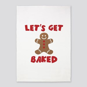 Let's Get Baked Funny Christmas 5'x7'Area Rug