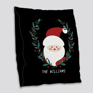 Custom Christmas Family Name S Burlap Throw Pillow