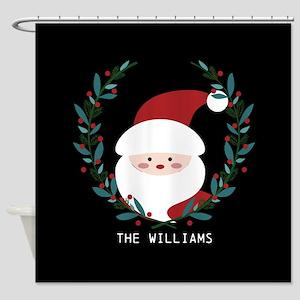 Custom Christmas Family Name Santa Shower Curtain