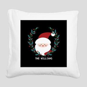 Custom Christmas Family Name Square Canvas Pillow