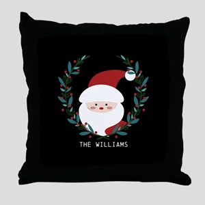 Custom Christmas Family Name Santa Cl Throw Pillow