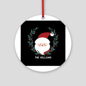 Custom Christmas Family Name Santa Round Ornament