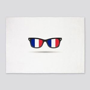 French Flag Glasses 5'x7'Area Rug