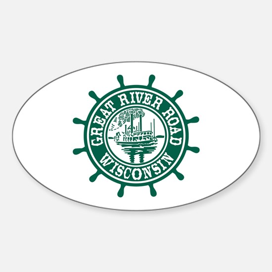 Great River Road Wisconsin Sticker (Oval)