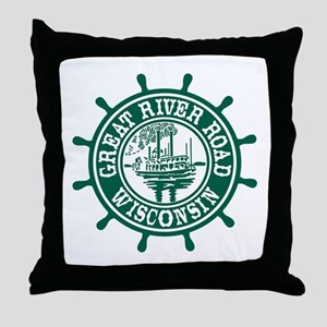 Great River Road Wisconsin Throw Pillow