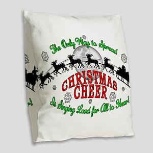 Elf Christmas Cheer 2015 Burlap Throw Pillow