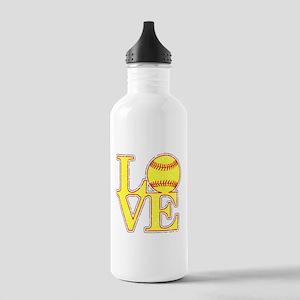 Love Softball Distress Stainless Water Bottle 1.0L