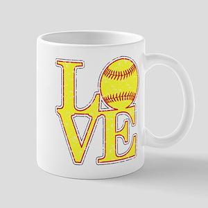 Love Softball Distressed Mugs