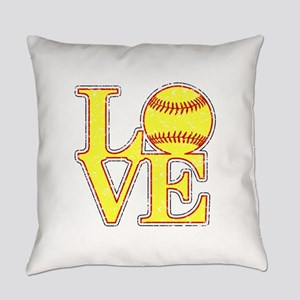 Love Softball Distressed Everyday Pillow
