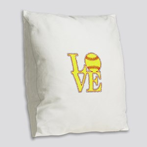 Love Softball Distressed Burlap Throw Pillow