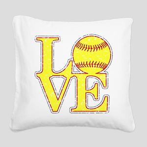Love Softball Distressed Square Canvas Pillow
