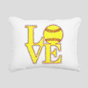 Love Softball Distressed Rectangular Canvas Pillow