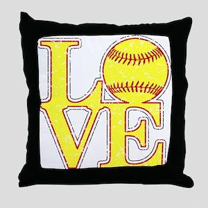 Love Softball Distressed Throw Pillow