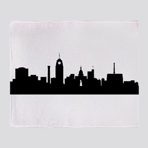 Lansing Cityscape Skyline Throw Blanket