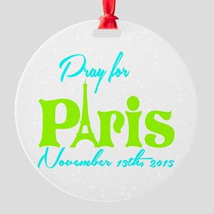 Pray for Paris Round Ornament