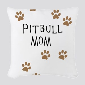 Pitbull Mom Woven Throw Pillow