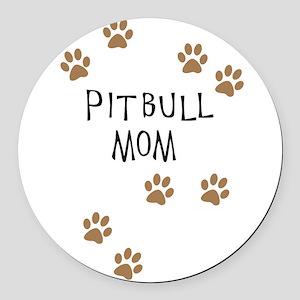 Pitbull Mom Round Car Magnet