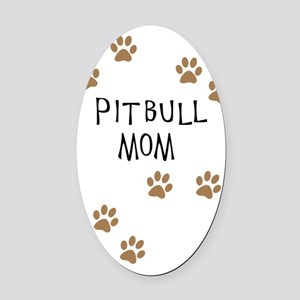 Pitbull Mom Oval Car Magnet