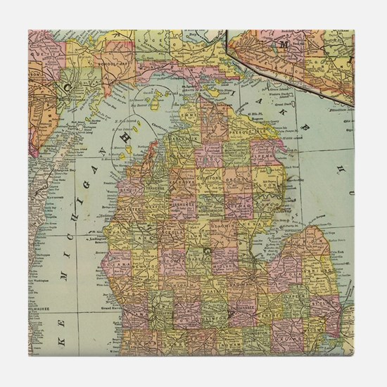 Funny State of michigan Tile Coaster
