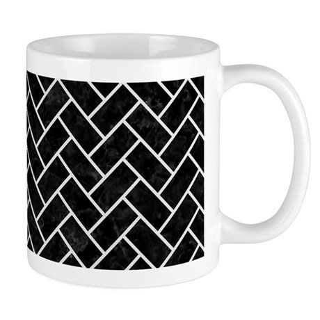BRICK2 BLACK MARBLE & WHITE LINE 11 oz Ceramic Mug