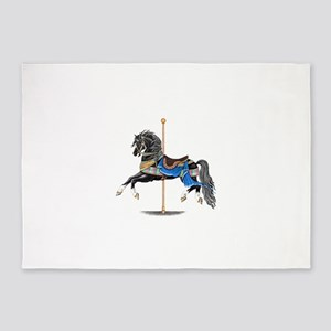 Black Carousel Horse 5'x7'Area Rug