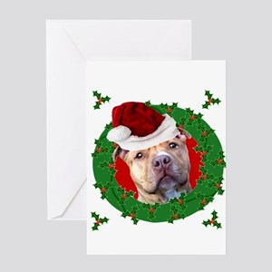 Christmas Pitbull Dog Greeting Cards