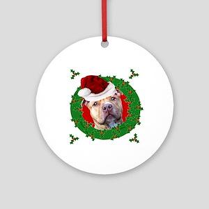 christmas pitbull dog round ornament