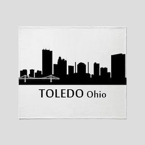 Toledo Cityscape Skyline Throw Blanket