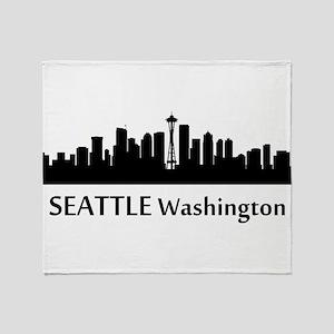 Seattle Cityscape Skyline Throw Blanket