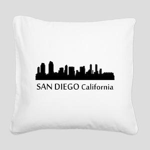 San Diego Cityscape Skyline Square Canvas Pillow
