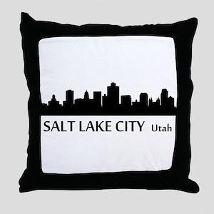 Salt Lake City Cityscape Skyline Throw Pillow