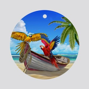 Parrots of the Caribbean Round Ornament
