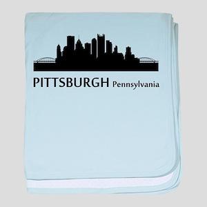 Pittsburgh Cityscape Skyline baby blanket