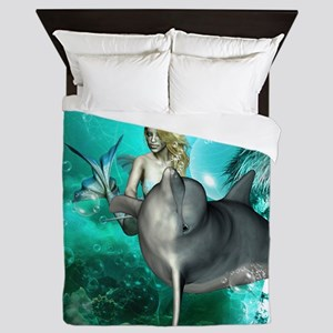 Beautiful mermaid with cute dolphin Queen Duvet